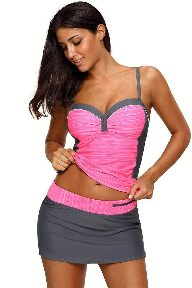 Sportive Underwire Tankini With Skirted Bikini Bottom Swimsuit SK083