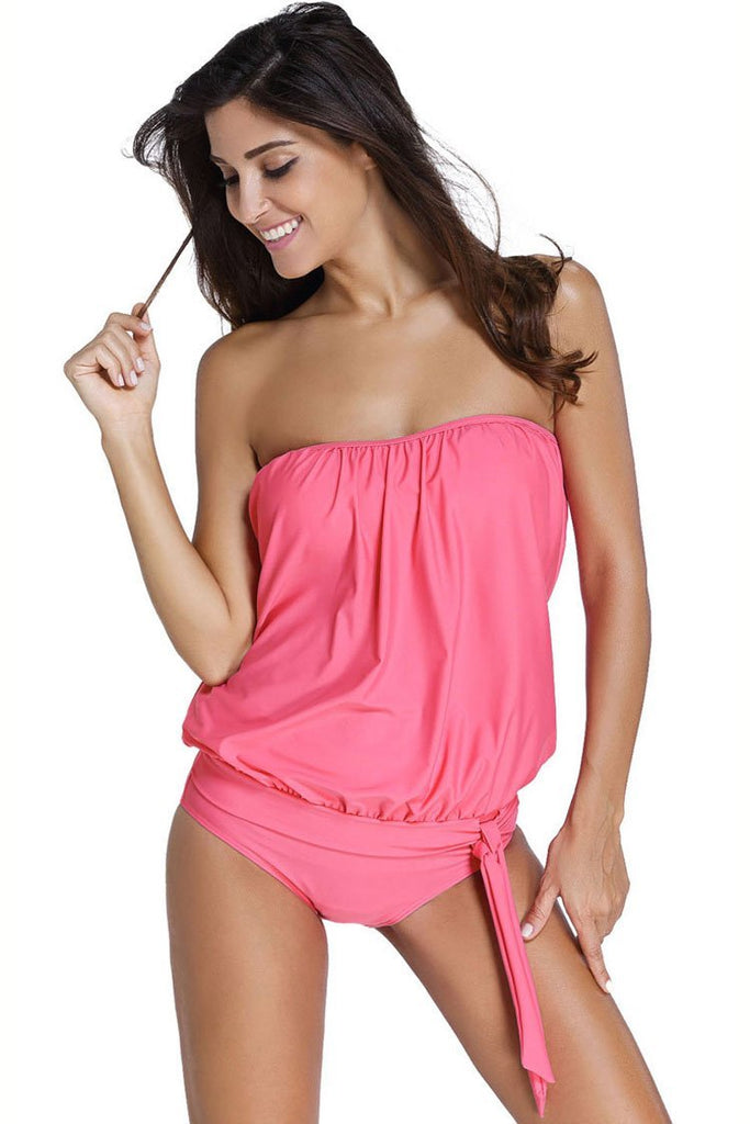 Leisure Ruched Knotted Tankini Bandeau Swimsuit SK084