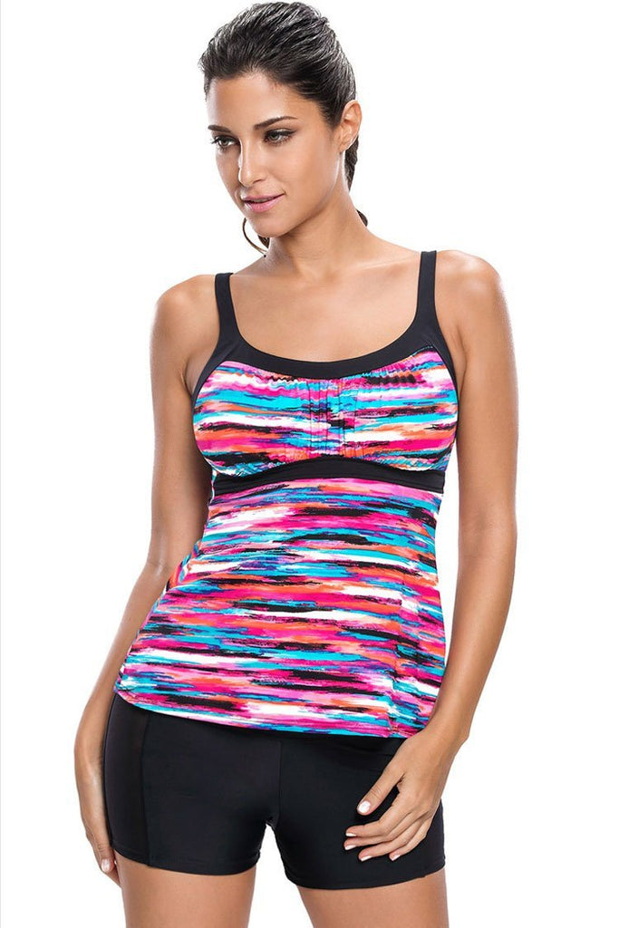 Casual Rainbow Striped Scoop Neck Boyshort Tankini Swimsuit SK0100
