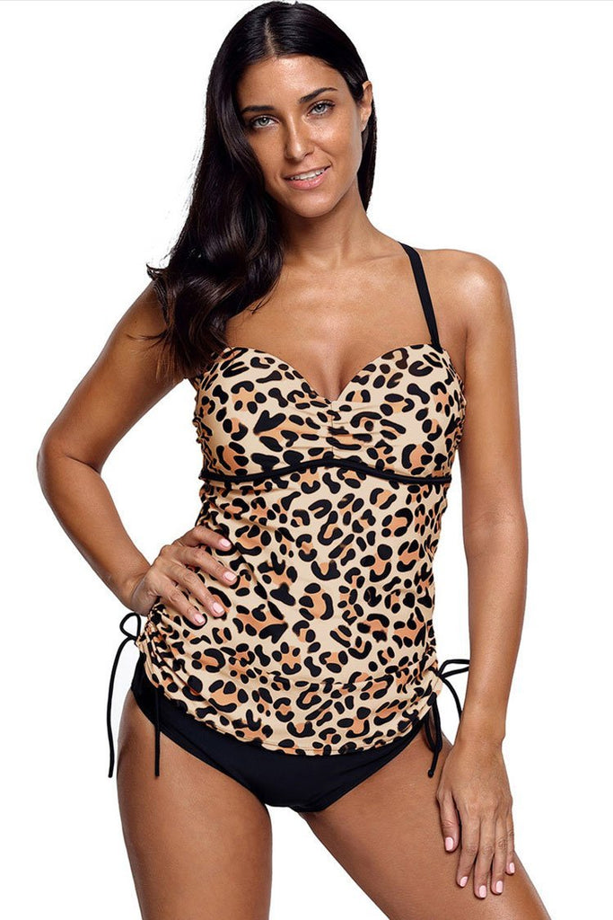 Sweetheart Leopard Push Up Underwire Tankini Swimsuit SK099