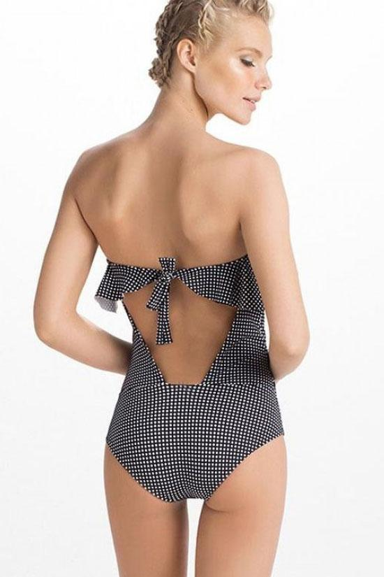 One Piece Vintage Gingham Ruffle Bandeau Swimsuit SO250