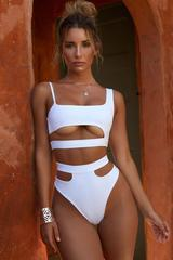 Solid High Leg High Waisted Cutout Bikini Swimsuit SB13