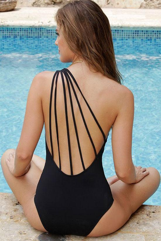 One Piece Chic Low Back Strappy One Shoulder Swimsuit SO439