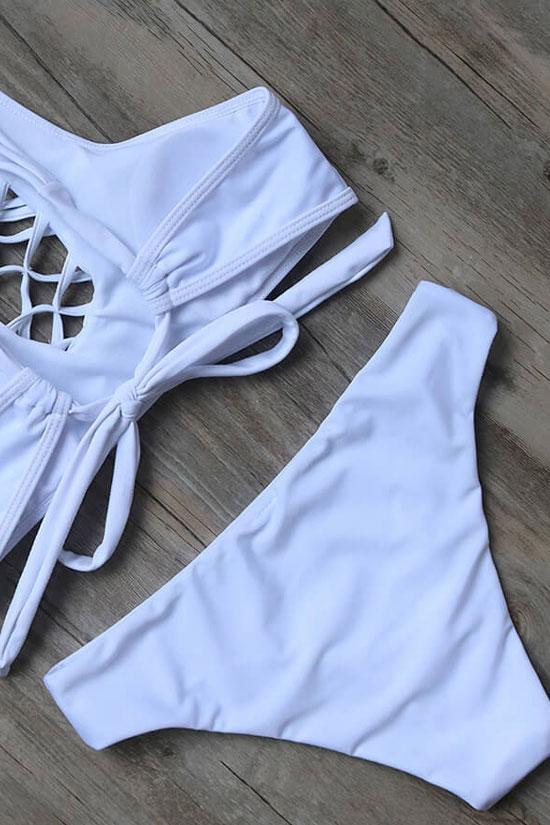 White Cross Strappy High Neck Two Piece Bikini Swimsuit SK0360