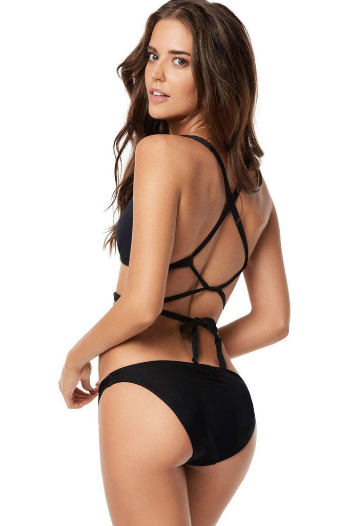 Black Triangle Bikini Crisscross Strappy Splicing Mesh Swimsuit SK0327