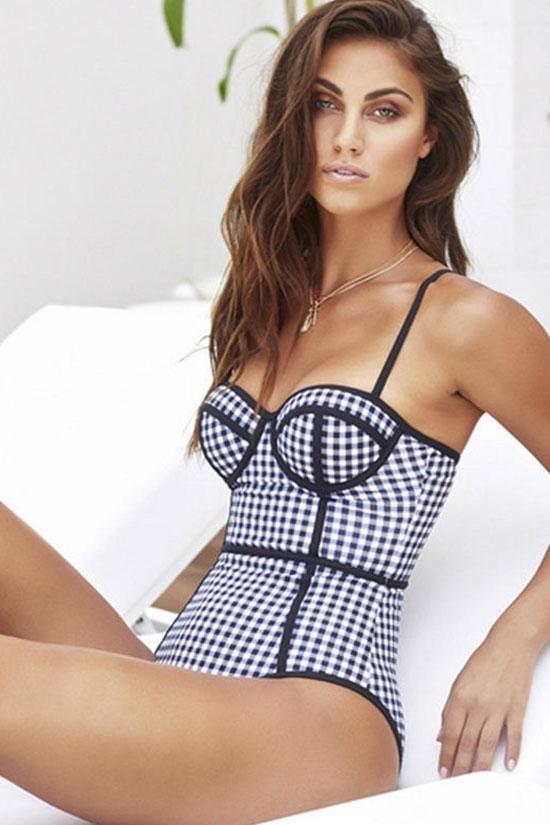 One Piece Vintage Gingham Printed Push Up Bodice Swimsuit SO248