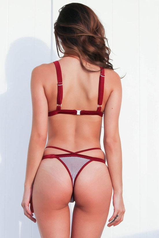 Red Mesh Panel Triangle Two Piece Thong Bikini Swimsuit SK0343