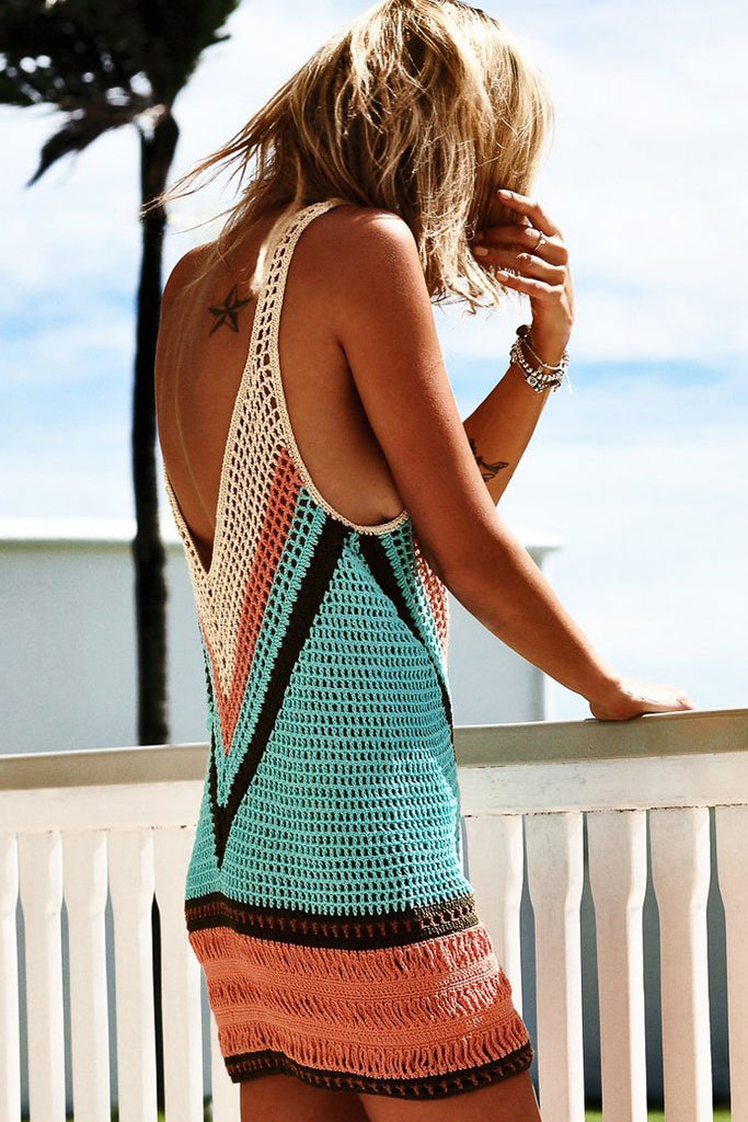Color Block Fishnet Low Back Crochet Tunic Cover Up BS40