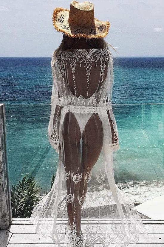 Boho Crochet Brim Sheer Maxi Cover Up BS44