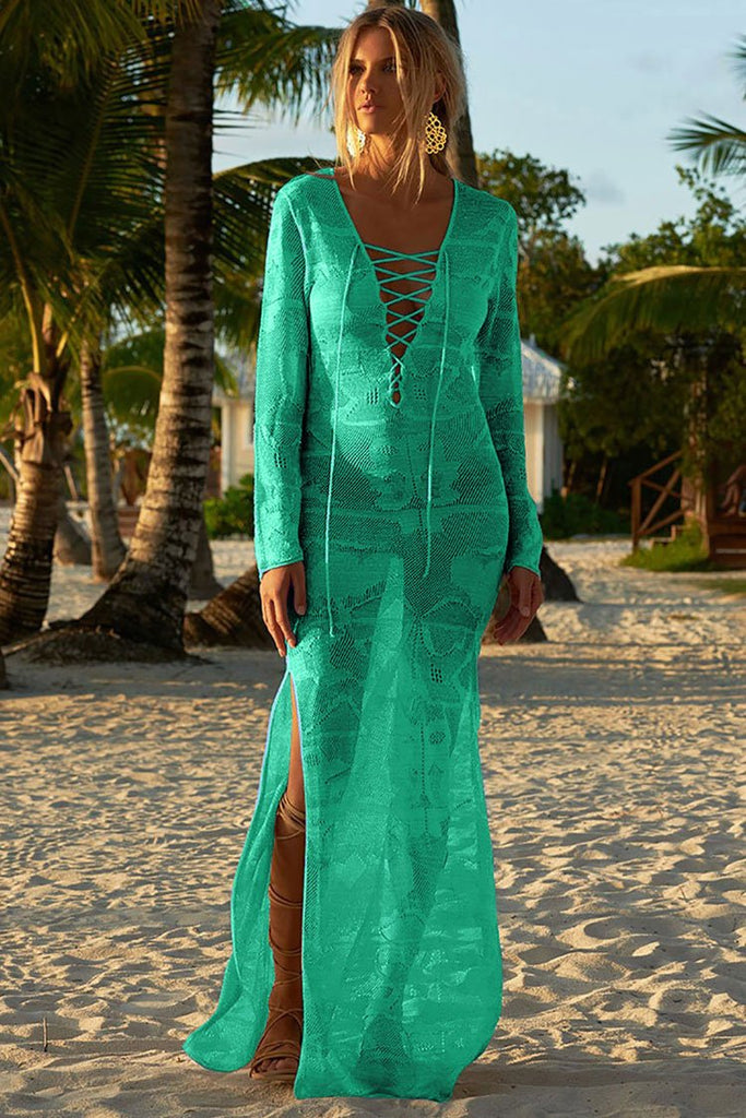Sheer Lace Up Split Crochet Maxi Cover Up BS36