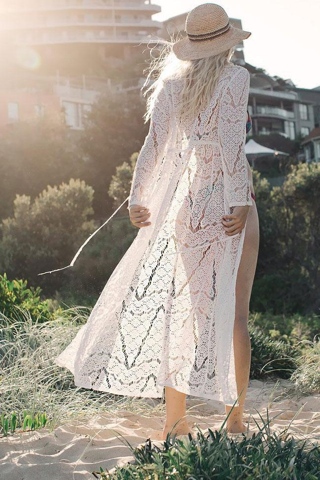 Exquisite Long Sleeve Drawstring Maxi Lace Cover Up BS23