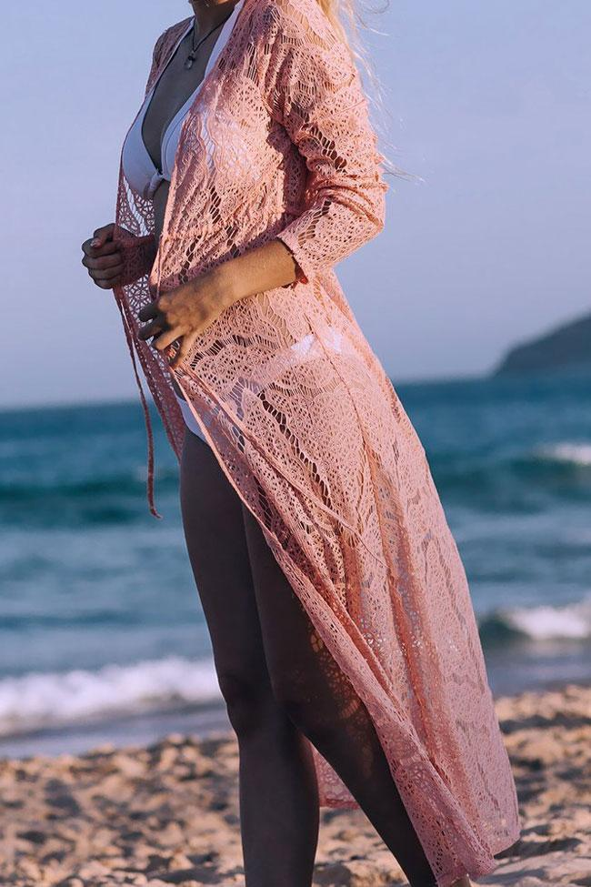 Exquisite Lace Beachwear Long Sleeve Drawstring Maxi Cover Up SK0337