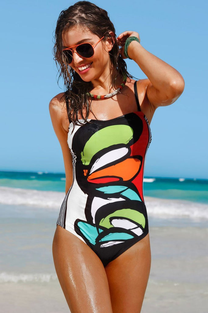 One Piece Scrawling Painting Bandeau Swimsuit SO246