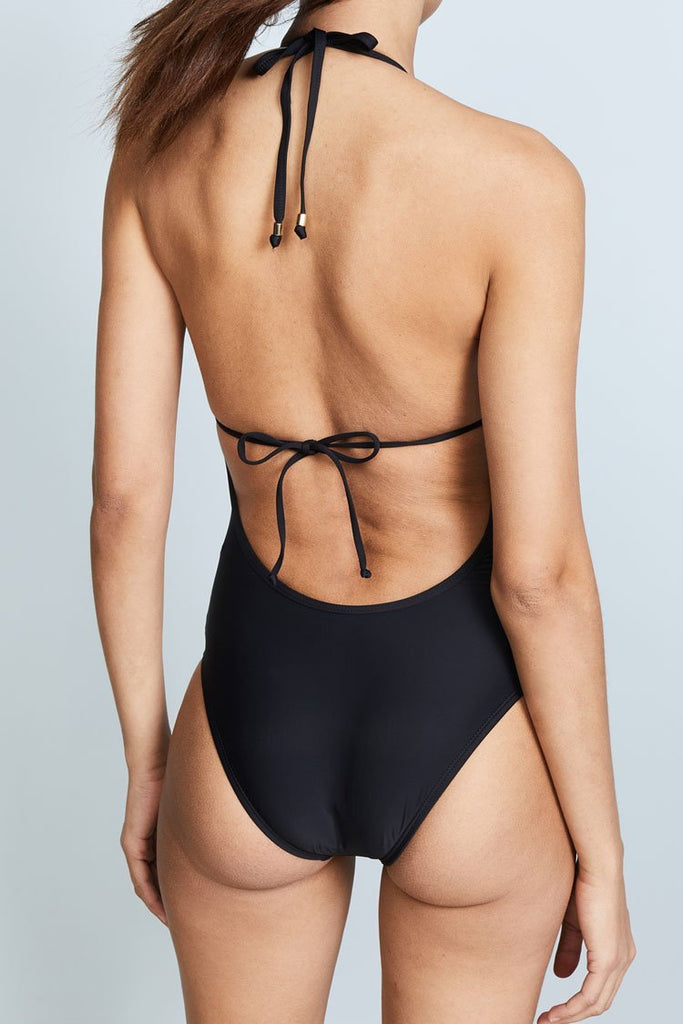 One Piece Low Back Hollowout Detail V Neck Halter Swimsuit SO433