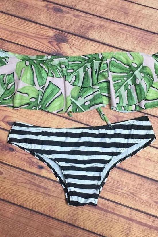 Green Stripe Palm Leaf Off The Shoulder Two Piece Bikini Swimsuit SK0351