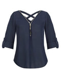 Chiffon V-Collar Zipper Middle Sleeve Cross Belt Women's Blouse BS276