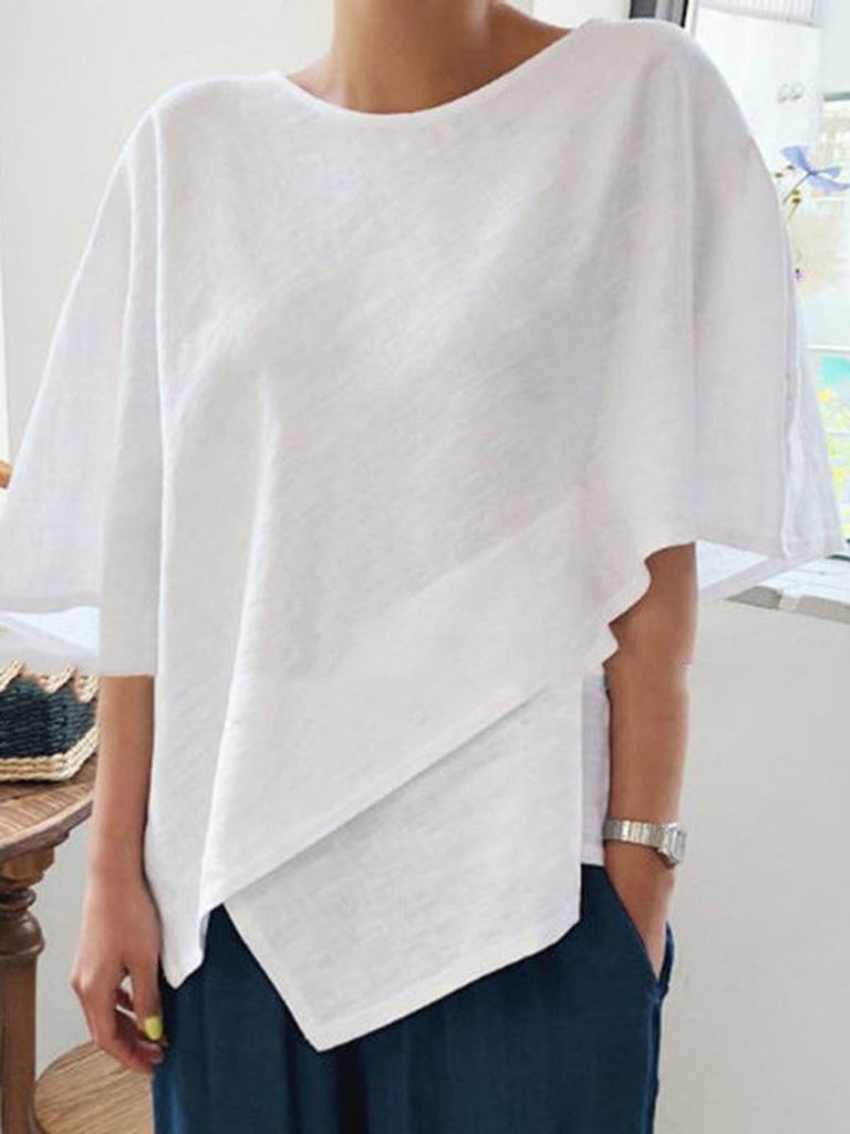 Asymmetric Round Neck Plain Mid-Length Half Sleeve Blouse BS239