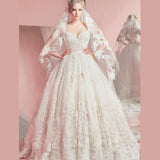 Sweetheart Ball Gown Sleeveless White Tulle Appliques Sweep Train Wedding Dresses PM316
