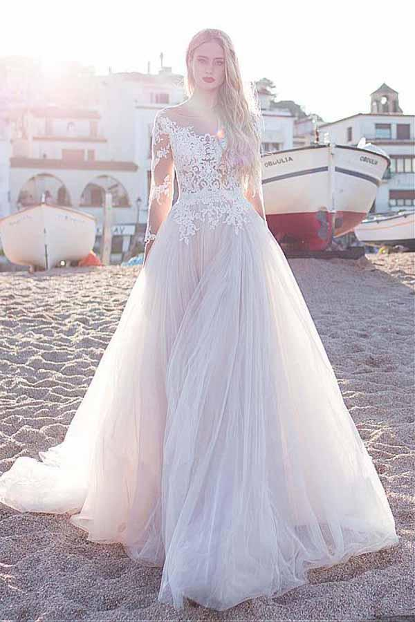 Tulle Scoop Neckline Pink A-line Lace Appliques Long Sleeves Bowknot Wedding Dresses uk PH311