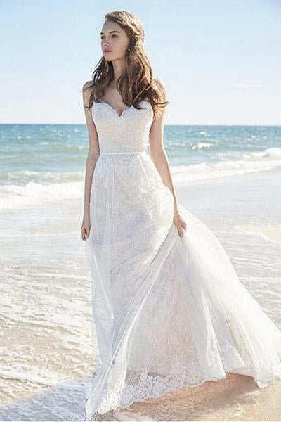 Chic A-Line Sweetheart Backless Lace Beach Spaghetti Straps Long Wedding Dresses PM375