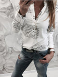Regular Button Color Block Standard Long Sleeve Blouse BS250