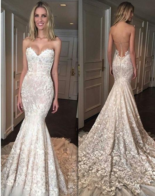 Gorgeous Mermaid Sweetheart Court Train Tulle Wedding Dresses uk with Appliques Lace PH275