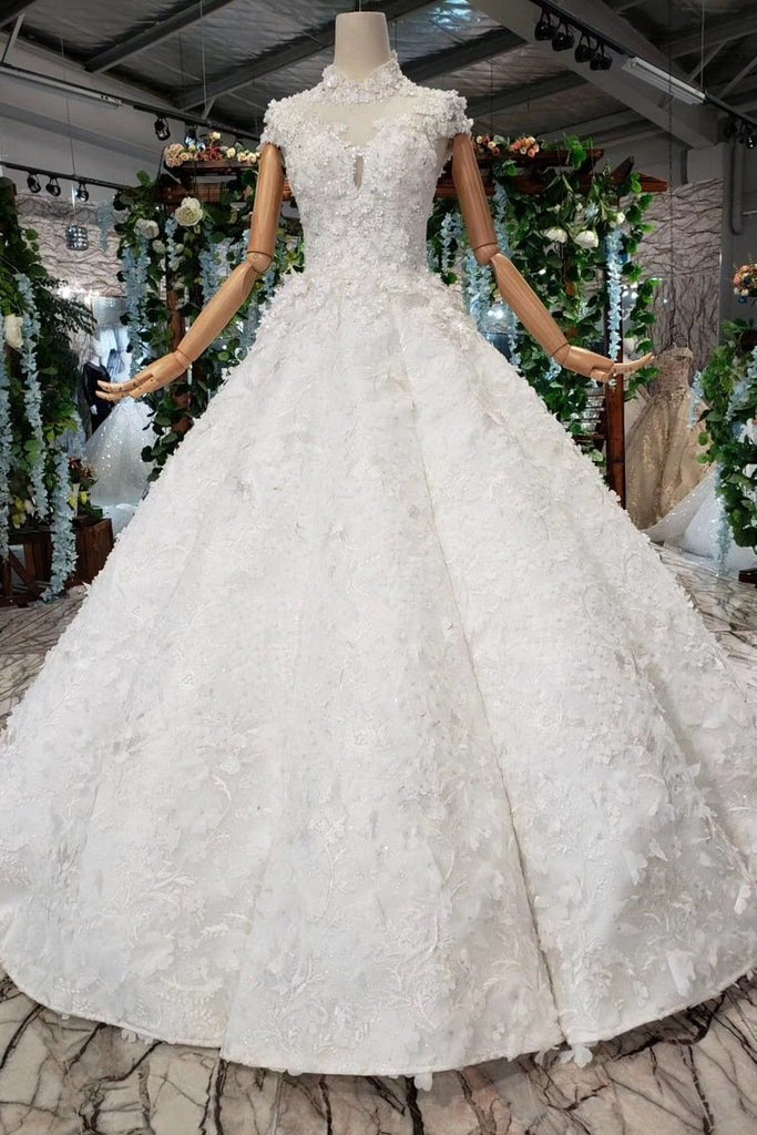 New Arrival Wedding Dresses Cap Sleeves High Neck Ball Gown With Appliques PW794