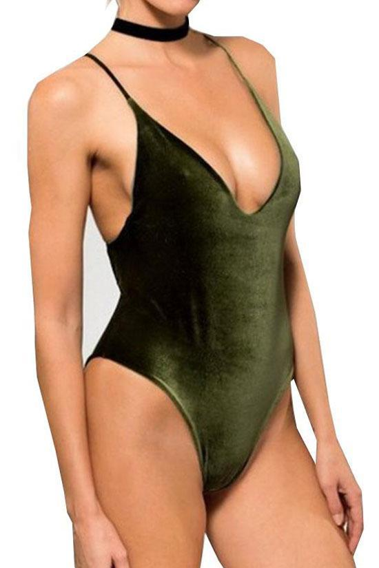 One Piece Reversible Velvet Plunged Bodysuit Swimsuit SO402