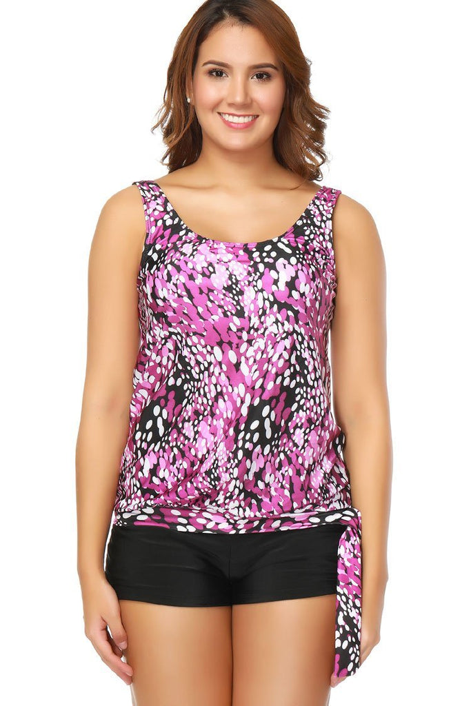 Spotted Print Boyshorts Plus Size Tankini Swimsuit with Slanted Pockets SK0284