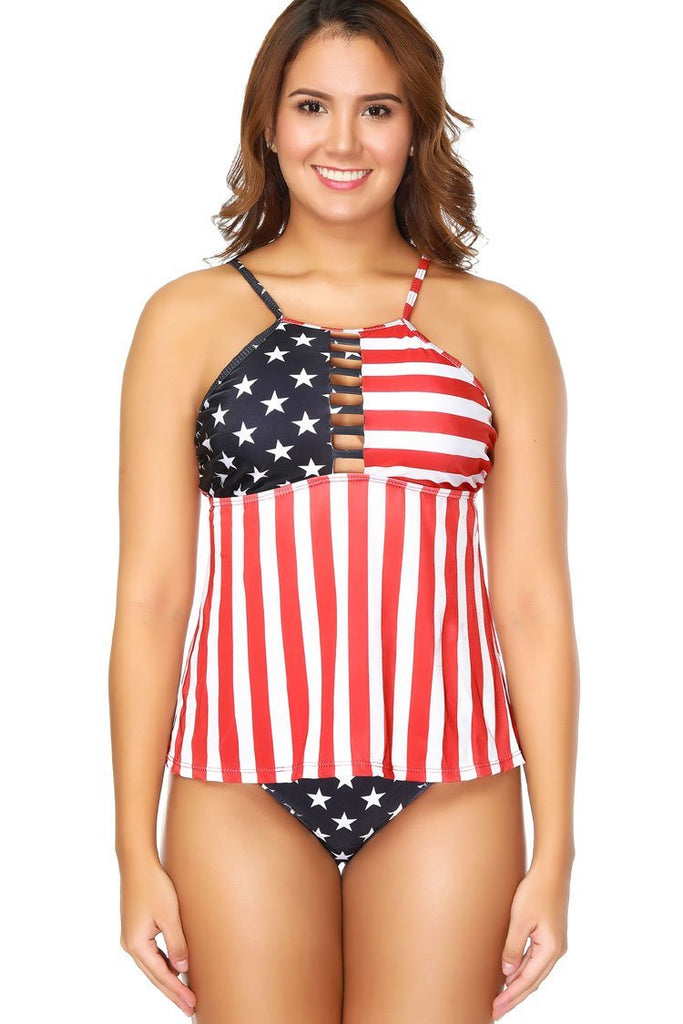 Stylish Strappy Flag Striped Print Plus Size Tankini Swimsuit SK0279