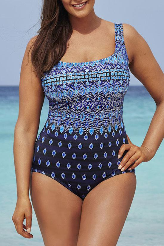 Printed Square Bathing Suit Plus Size One Piece Swimsuit SK0263