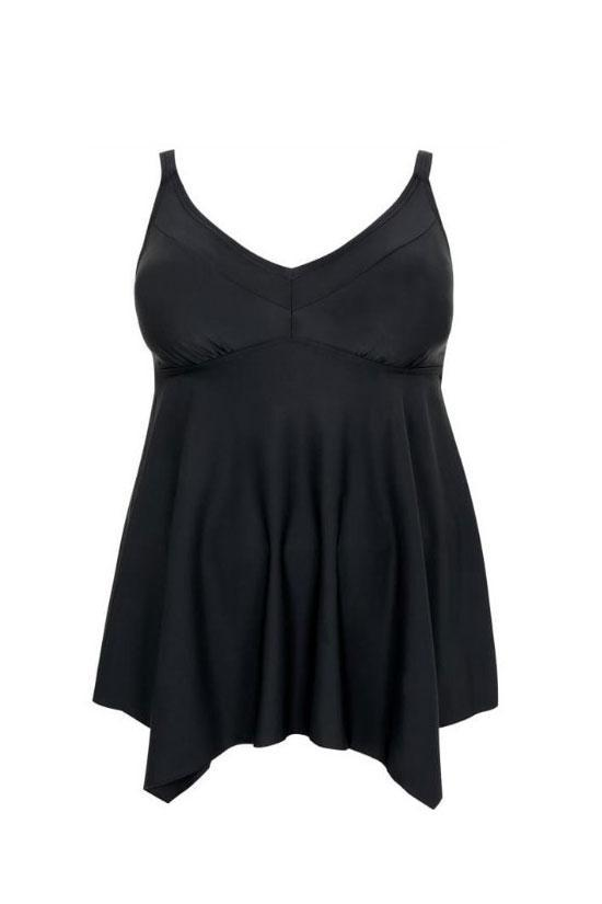 Black Hanky Hem Swimdress Plus Size Tankini Swimsuit SK0208