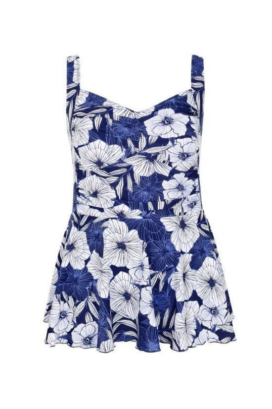 Chic Floral Printed Bathing Suit Plus Size One Piece Blue Swimdress SK0256
