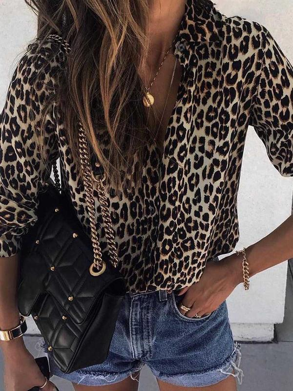 Print Leopard Lapel Mid-Length Long Sleeve Blouse BS237