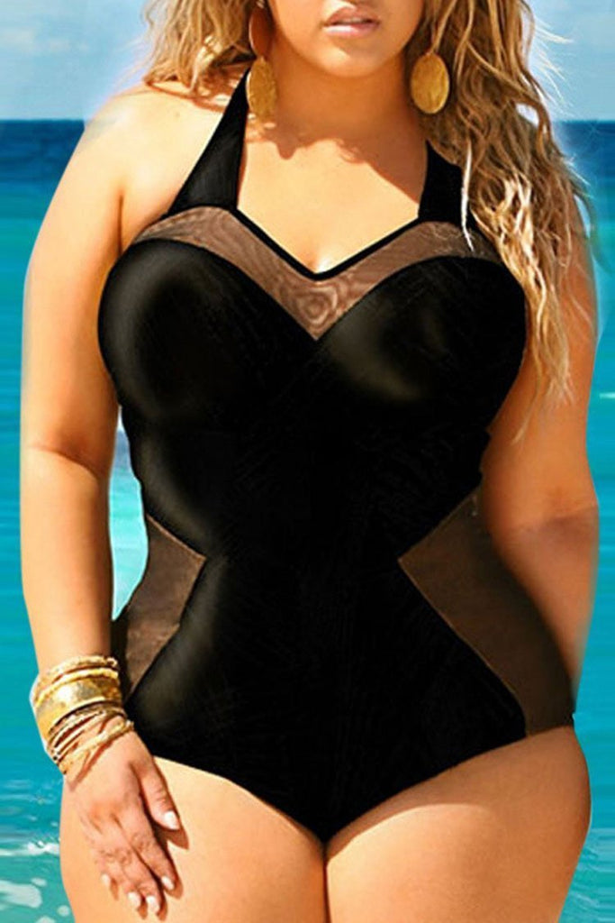 Black Low Back Halter Bustier Plus Size One Piece Swimsuit SK0186