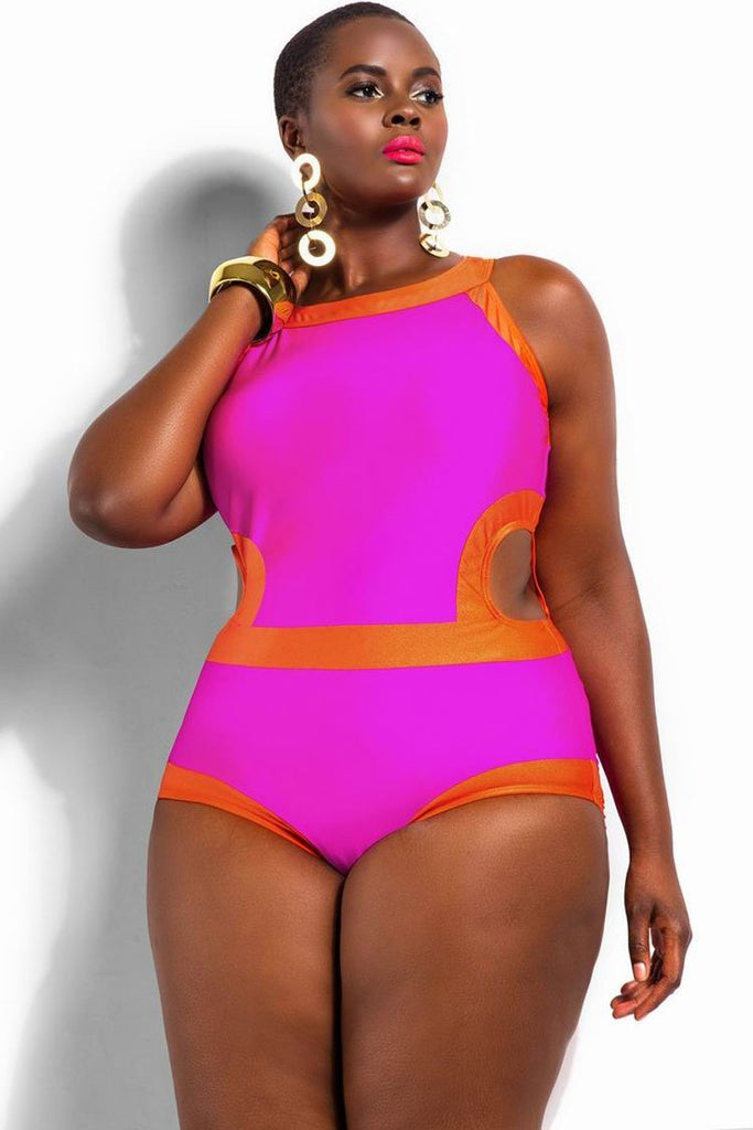 High Neck Block Cutout Plus Size One Piece Swimsuit SK0135
