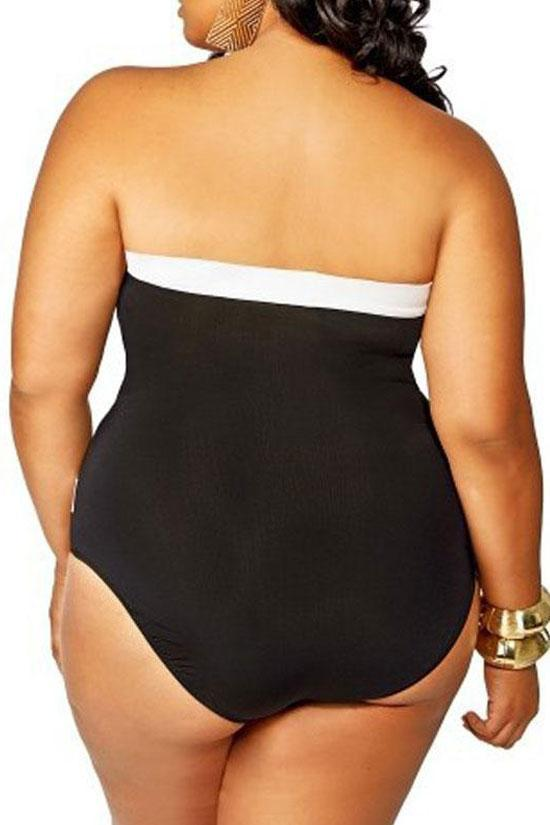 Bandeau Plus Size Color Block Cutout One Piece Swimsuit SK0142