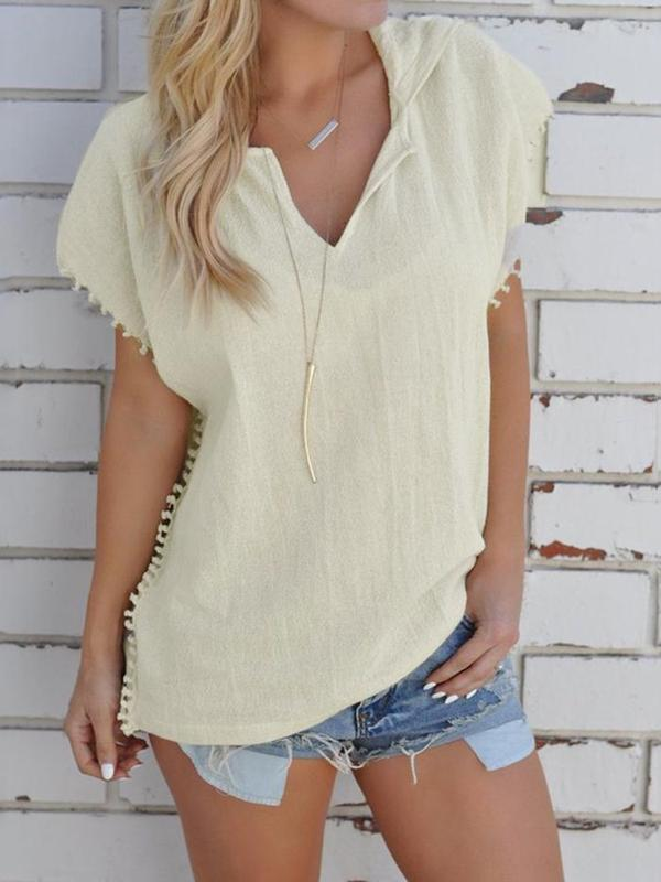 Hooded Short Sleeve Mid-Length Casual Loose T-Shirt BS290