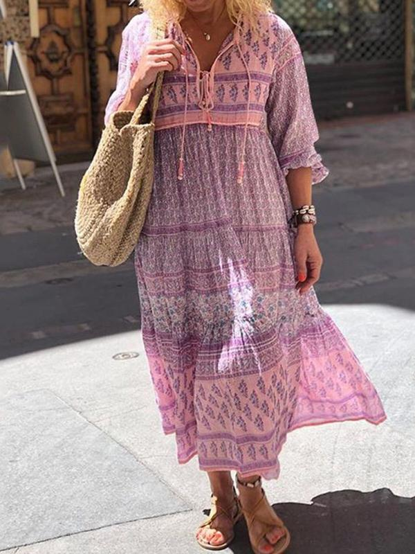Three-Quarter Sleeve Mid-Calf Print Travel Look Pullover Dress BS136