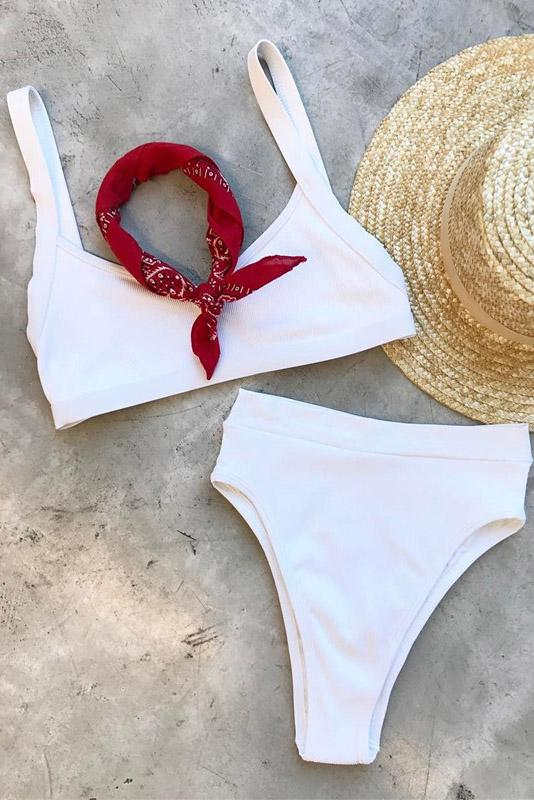 Concise Solid High Leg High Waisted Two Piece White Bikini Swimsuit Set B0045