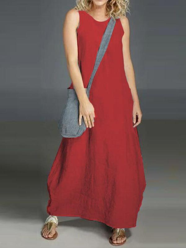 Ankle-Length Round Neck Sleeveless Plain A-Line Dress BS327