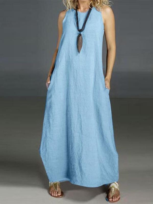 Ankle-Length Round Neck Sleeveless Plain A-Line Dress BS146