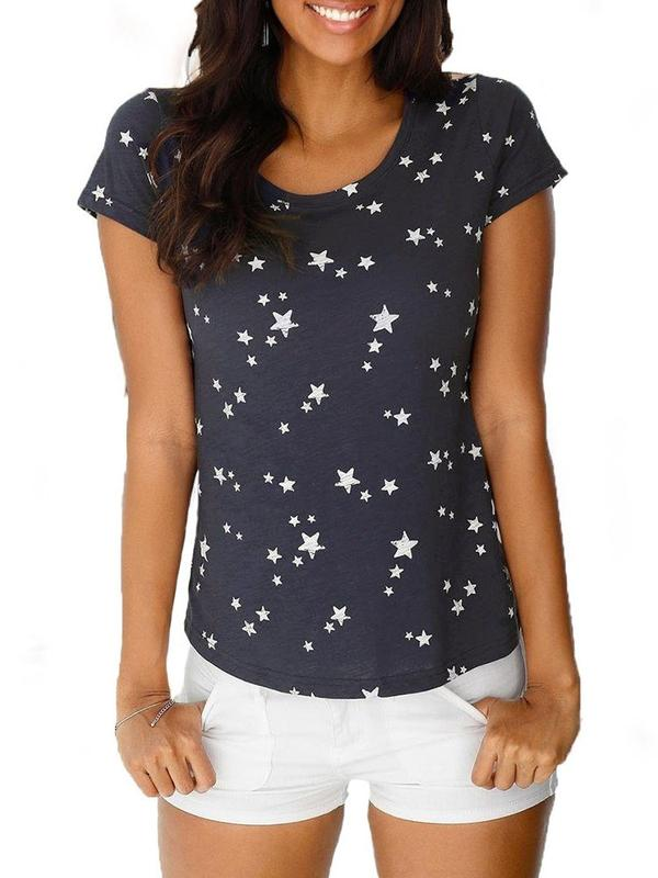 Star Round Neck Standard Summer Slim T-Shirt BS203