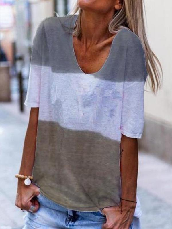 Half Sleeve Standard Color Block Slim Casual T-Shirt BS295