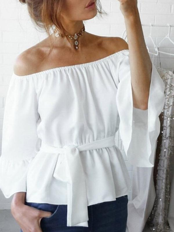 Flare Sleeve Off Shoulder Lace-Up Three-Quarter Sleeve Standard Blouse BS339