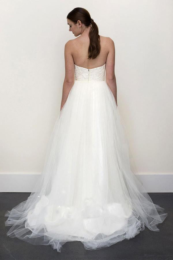 Sexy Top A-line White Lace Grey Tulle Strapless Sweetheart Neck Wedding Dress PM357
