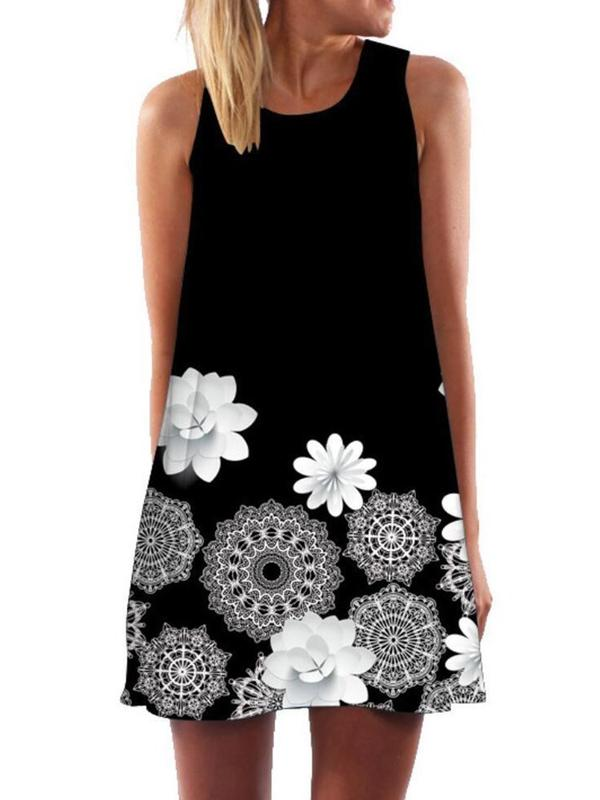 Sleeveless Above Knee Print Floral Casual Dress BS328