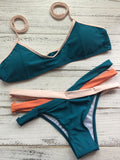 Women's Tie Side Bottom Padded Top Triangle Bikini Bathing Suit