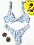 Women's Two Piece Bathing Suit Padded Knot Plaid Bikini Set