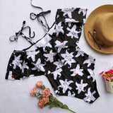 Vintage Printed Off Shoulder Flounce Ruffled Swimwear Swimsuits